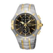 Seiko® Coutura Mens Two-Tone Gray Dial Chronograph Watch SSC198