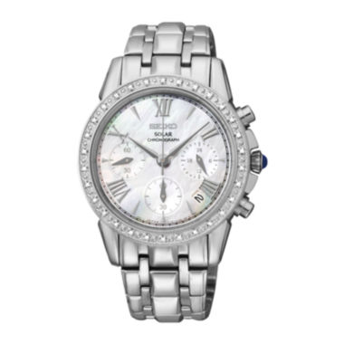 jcpenney.com | Seiko® Le Grand Sport Womens Silver-Tone Mother-of-Pearl Diamond Chronograph Wat