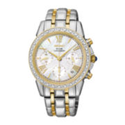 Seiko® Le Grand Sport Womens Two-Tone Mother-of-Pearl Diamond Chronograph Watch