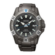 Seiko® Mens Black Stainless Steel 20ATM Dive Watch