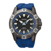 Seiko® Mens Blue Silicone Strap Dive Watch