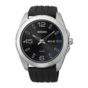 Seiko® Millennial Mens Black Rubber Strap Watch
