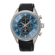 Seiko® Mens Silver-Tone Blue Ombre Dial Chronograph Watch