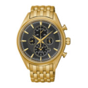 Seiko® Mens Gold-Tone Black Dial Chronograph Watch