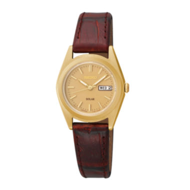 jcpenney.com | Seiko® Womens Gold-Tone Brown Leather Strap Solar Watch SUT120