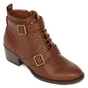 Unisa® Oakey Lace-Up Buckle-Strap Womens Booties