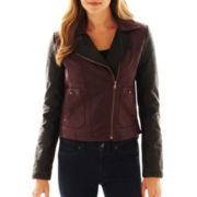 Collection B. Two-Tone Faux-Leather Moto Jacket