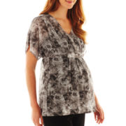 Maternity Short-Sleeve Rose Sheer Top