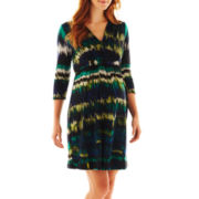 Maternity 3/4-Sleeve Belted Dress - Plus