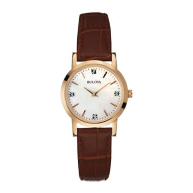 jcpenney.com | Bulova® Womens Diamond-Accent Brown Leather Strap Watch 97P105