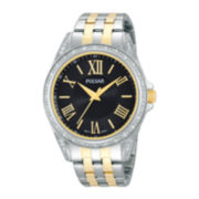 Pulsar® Night Out Womens Crystal-Accent Two-Tone Stainless Steel Bracelet Watch