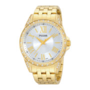 Pulsar® Night Out Womens Crystal-Accent Gold-Tone Stainless Steel Bracelet Watch