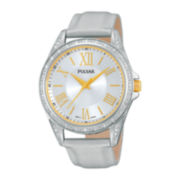 Pulsar® Night Out Womens Crystal-Accent Silver-Tone Leather Strap Watch PG2007