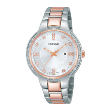 jcpenney.com | Pulsar® Business Womens Crystal-Accent Stainless Steel Bracelet Watch PJ2012