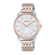 Pulsar® Easy Style Womens Rose-Tone Stainless Steel Bracelet Watch
