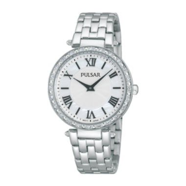 jcpenney.com | Pulsar® Night Out Womens Crystal-Accent Stainless Steel Bracelet Watch PM2125