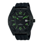Pulsar® Mens Black Silicone Strap Watch PS9317