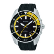 Pulsar® On The Go Mens Black Silicone Strap Watch