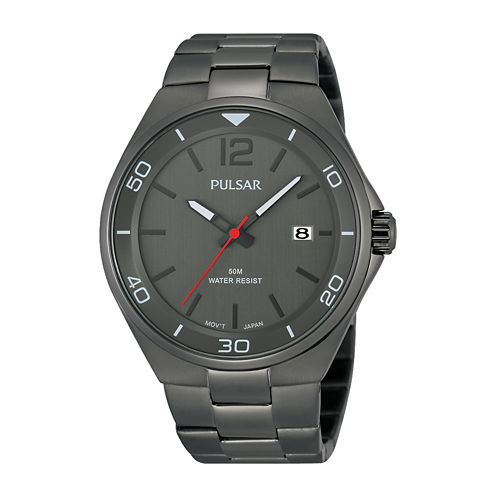 Pulsar® Easy Style Mens Gray Stainless Steel Watch PS9327
