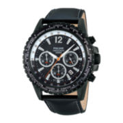 Pulsar® Mens World-Time Black Leather Strap Chronograph Watch