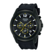 Pulsar® Mens Black Silicone Strap Chronograph Watch