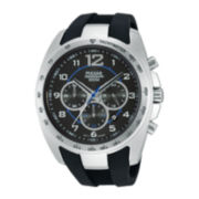 Pulsar® On The Go Mens Black Silicone Strap Chronograph Watch