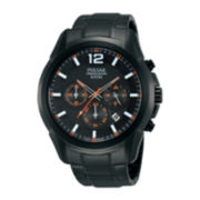 Pulsar® Mens Black Stainless Steel Chronograph Watch