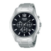 Pulsar® Mens Stainless Steel Chronograph Watch