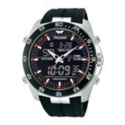 Pulsar® Mens Analog/Digital Black Silicone Strap Chronograph Watch