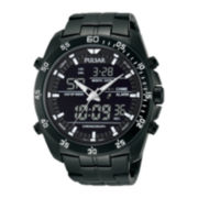 Pulsar® Mens Analog/Digital Black Stainless Steel Chronograph Watch