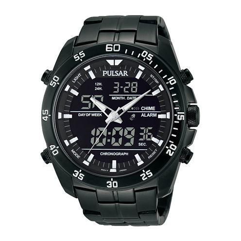 Pulsar® Mens Analog/Digital Black Stainless Steel Chronograph Watch PW6011