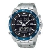 Pulsar® Mens Analog/Digital Stainless Steel Chronograph Watch