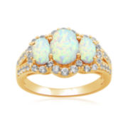 Lab-Created Opal & White Sapphire 14K Gold Over Sterling Silver 3-Stone Ring