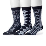 MUK LUKS® 3-pk. Black Patterned Socks
