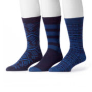 MUK LUKS® 3-pk. Navy Patterned Socks
