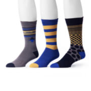 MUK LUKS® 3-pk. Blue/Gold Patterned Socks