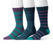 MUK LUKS® 3-pk. Purple/Green Patterned Socks
