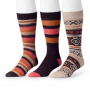 MUK LUKS® 3-pk. Orange/Brown Patterned Socks