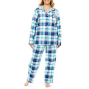 Liz Claiborne® Long-Sleeve Shirt and Pants Flannel Pajama Set - Plus