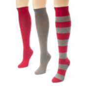 MUK LUKS® Unisex 3-pk. Game Day Knee-High Socks