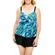 Delta Burke® Draped Tankini Swim Top or Solid Shorts - Plus