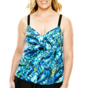 Delta Burke® Draped Feather Print Tankini Swim Top - Plus