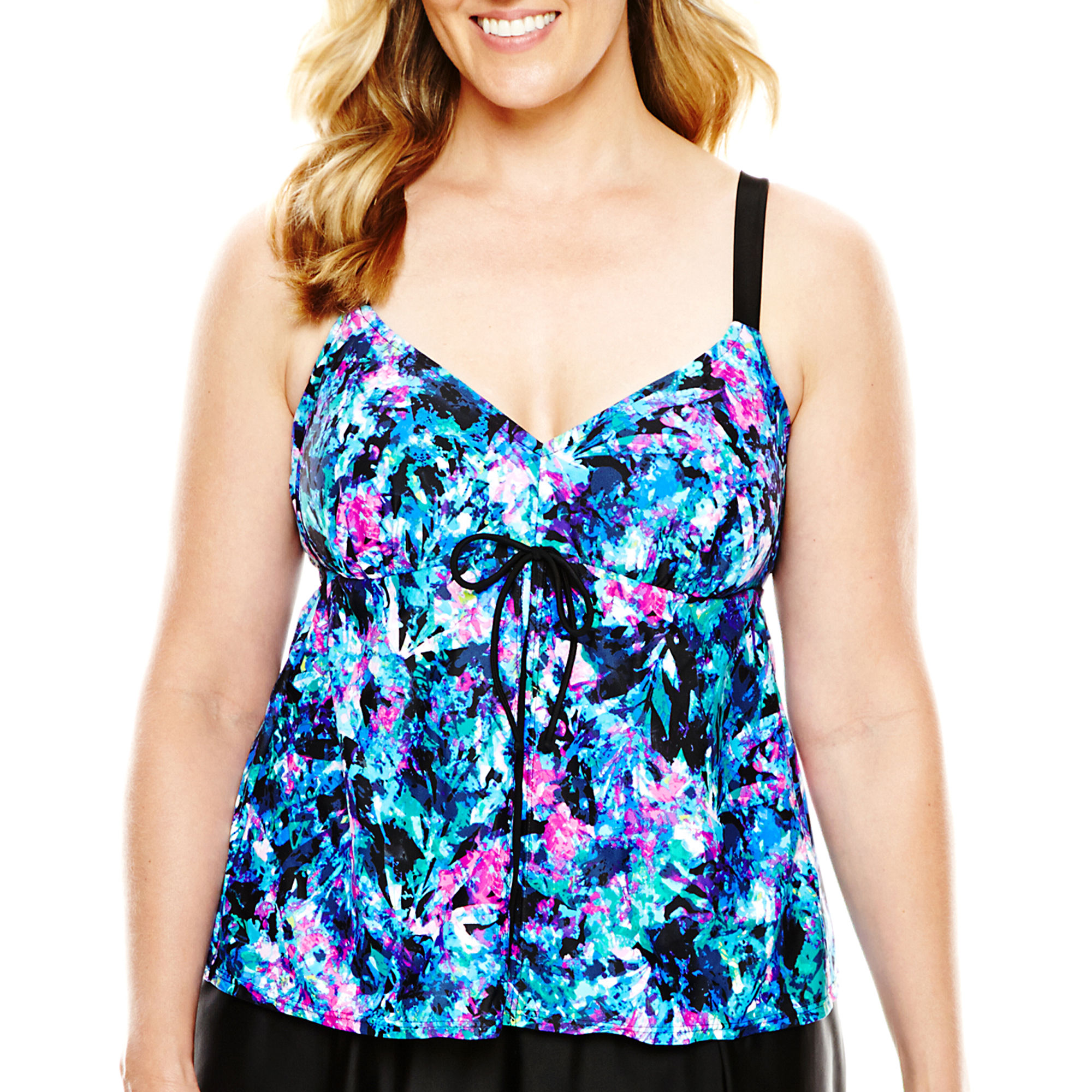 Delta Burke Flyaway Tankini Swim Top - Plus