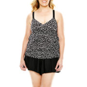 Delta Burke® Polka Dot 3-Tier Tankini Swim Top - Plus