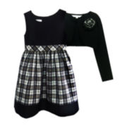 Marmellata Plaid Dress and Cardigan - Girls 7-12