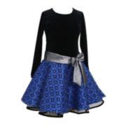 Bonnie Jean® Velvet Drop-Waist Dress - Girls 7-16