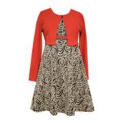 Bonnie Jean® Rose Dress and Cardigan - Girls Plus