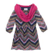 Rare Editions Chevron Dress and Infinity Scarf - Girls 7-16