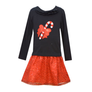 jcpenney.com | Bonnie Jean® Candy Cane Dress - Girls 7-12