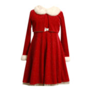 Bonnie Jean® Velvet Santa Dress and Cardigan - Girls 7-16